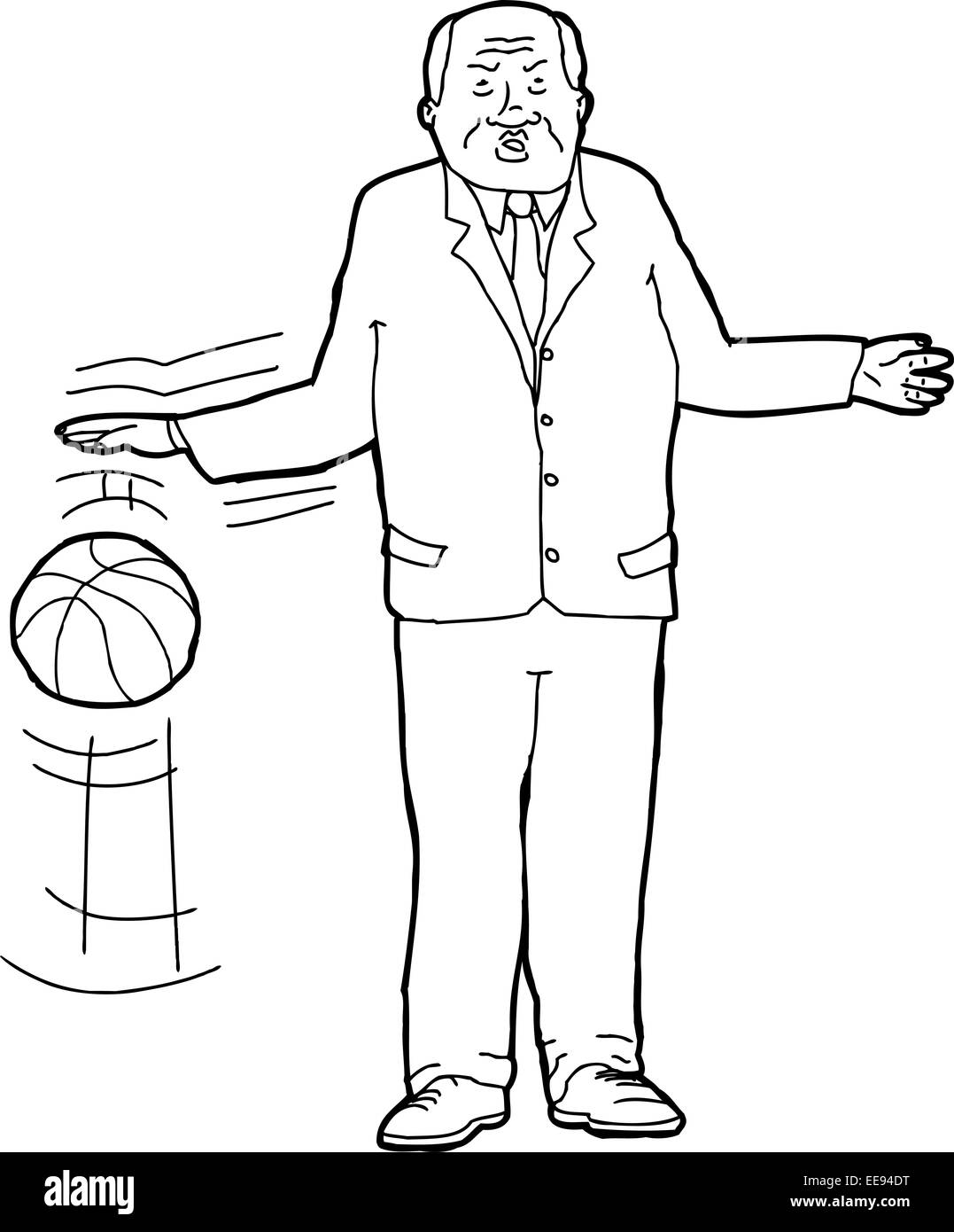 Cartoon outline of tough businessman bouncing basketball - Stock Image