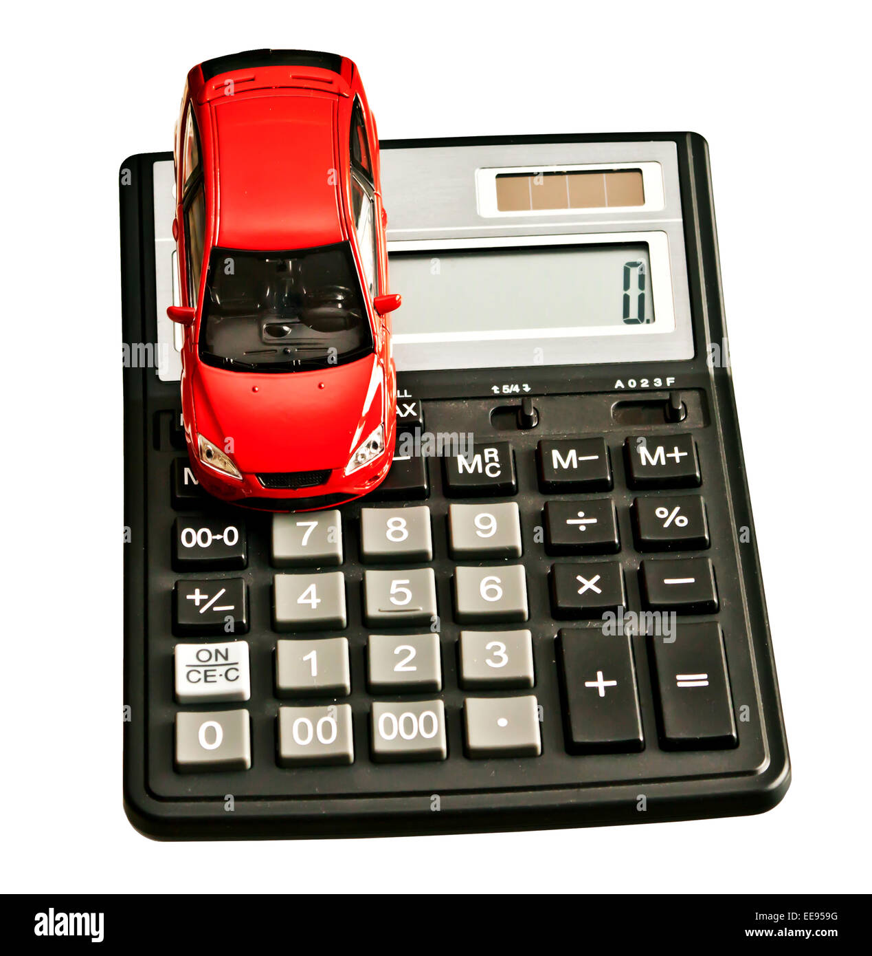 Toy car and calculator. Concept for buying, renting, insurance, fuel, service and repair costs - Stock Image
