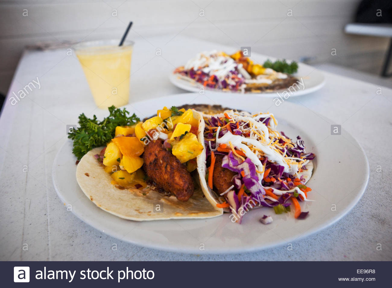 """World Famous"" Fish Tacos and Mango Margarita from Whoa Nellie Deli at Tioga Gas Mart, Lee Vining, California Stock Photo"