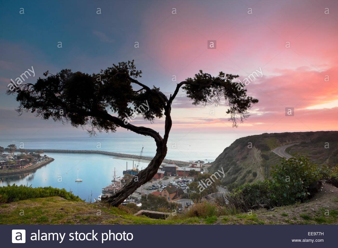 Dana Point Harbor Sunset, Dana Point, California - Stock Image