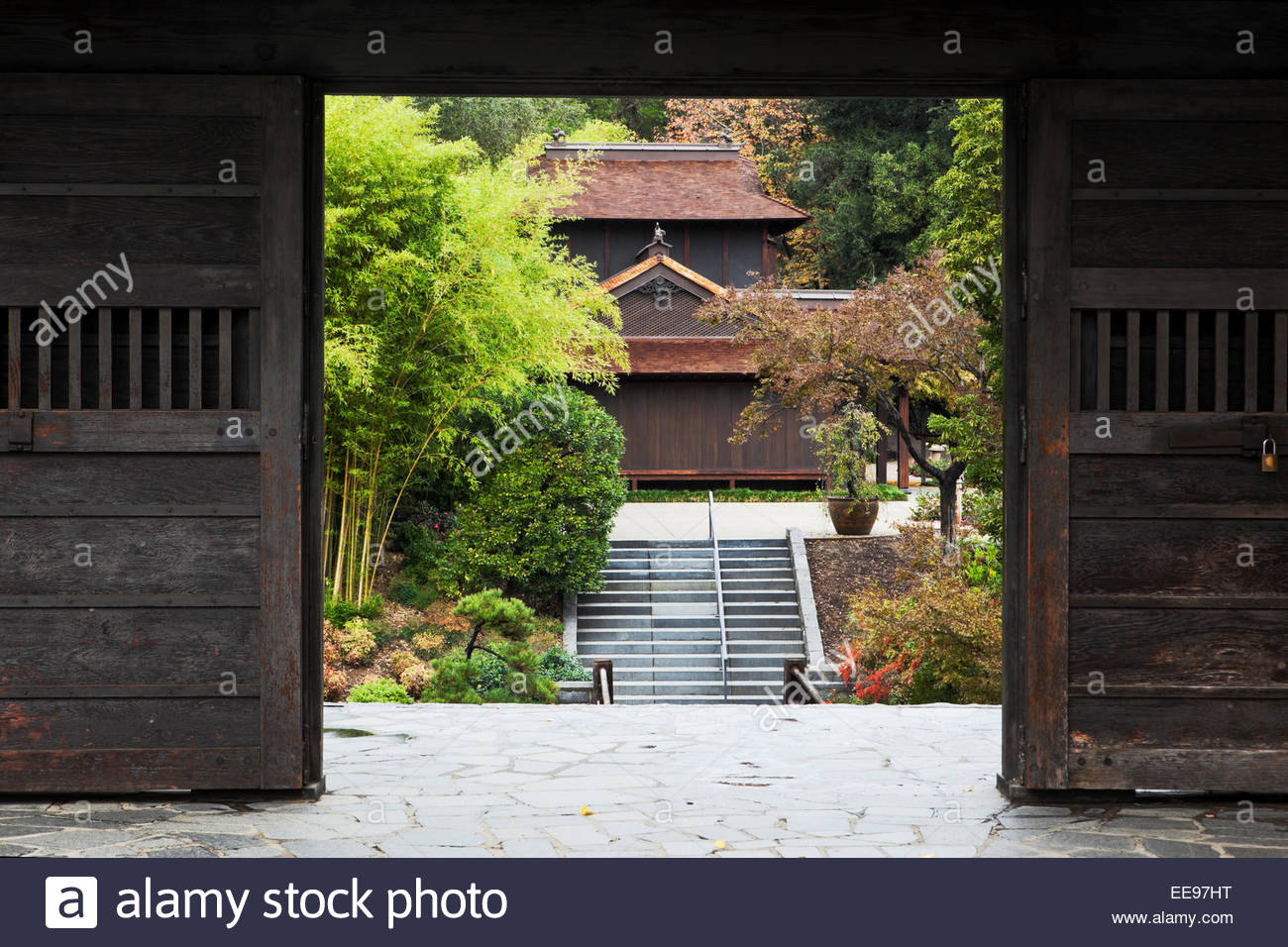Traditional Japanese House Framed in Doorway at The