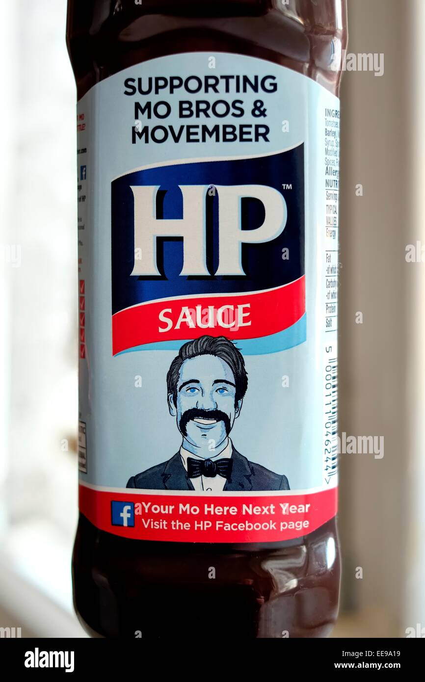 A HP brown sauce bottle supporting Movember - Stock Image