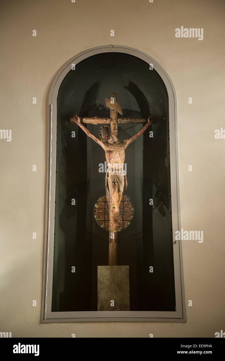Crucifix, Chapel, Campo Santo Funeraria, Perpignan, Pyrenees-Orientales, France - Stock Image