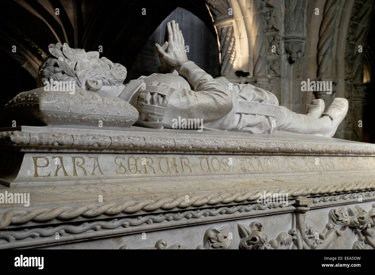 Portugal, Lisbon, Jerónimos Monastery: Tomb of the Portugese poet, Luis Vaz de Camoes Stock Photo