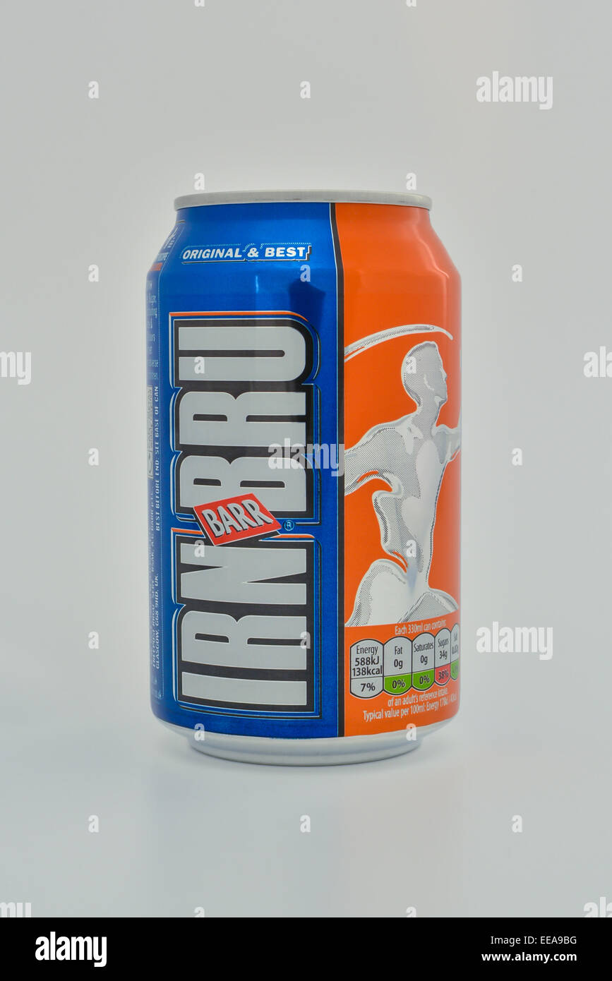 can of Irn-Bru produced by Barr in Scotland, UK - Stock Image