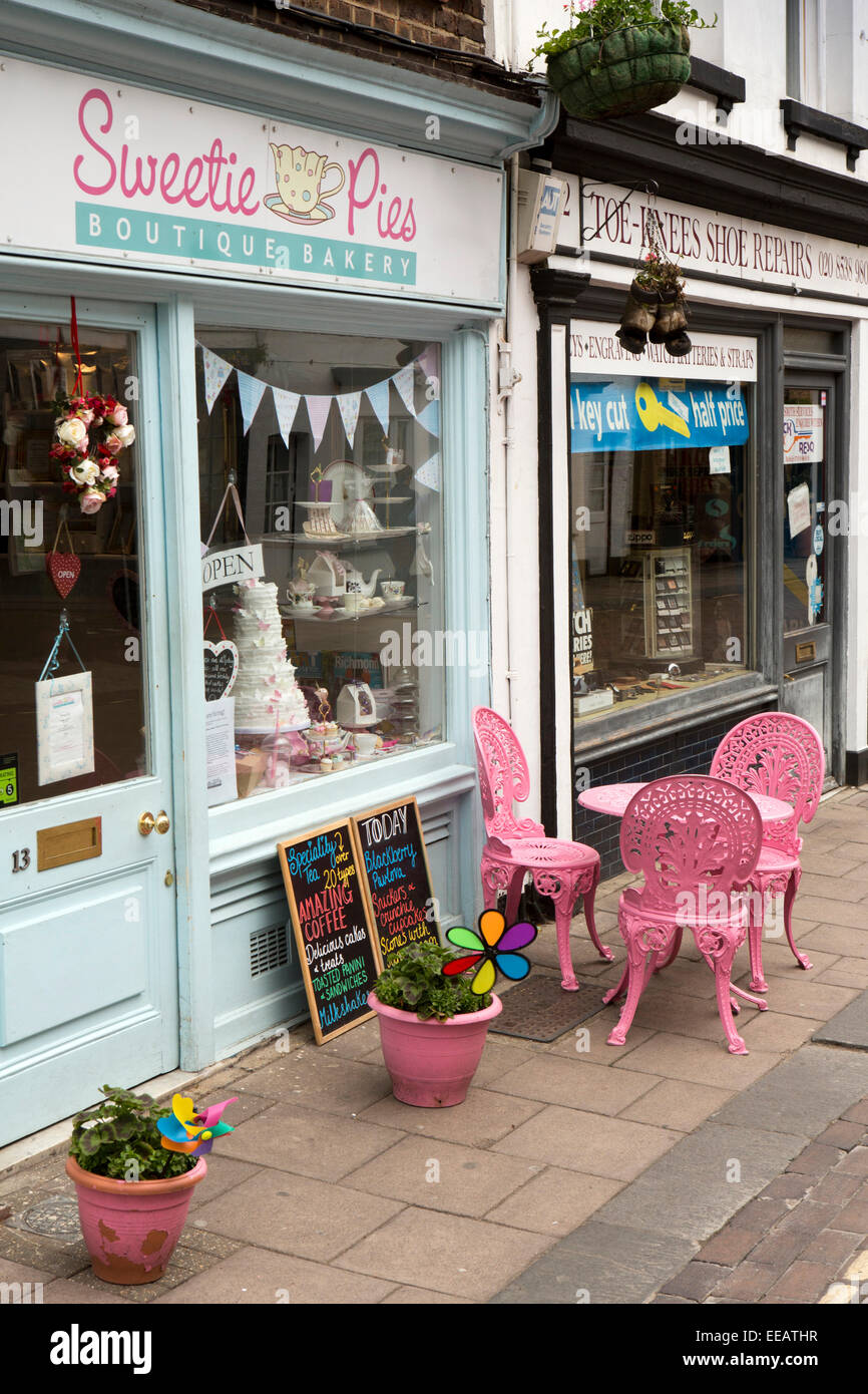 UK, London, Twickenham, Church Street, pink painted chairs outside, Sweetie Pie's bakers - Stock Image