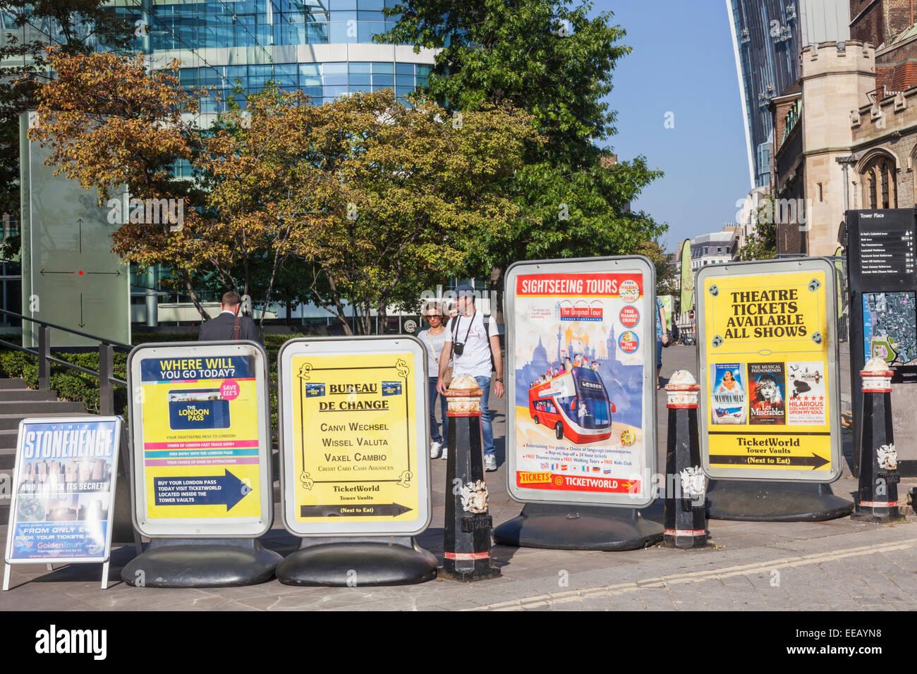 England, London, Advertising Billboards Blocking Footpath Stock Photo