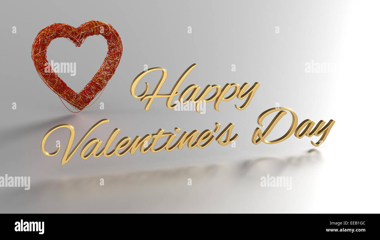 Happy Valentines Day 3d Render With Gold Text And Red Heart At Stock