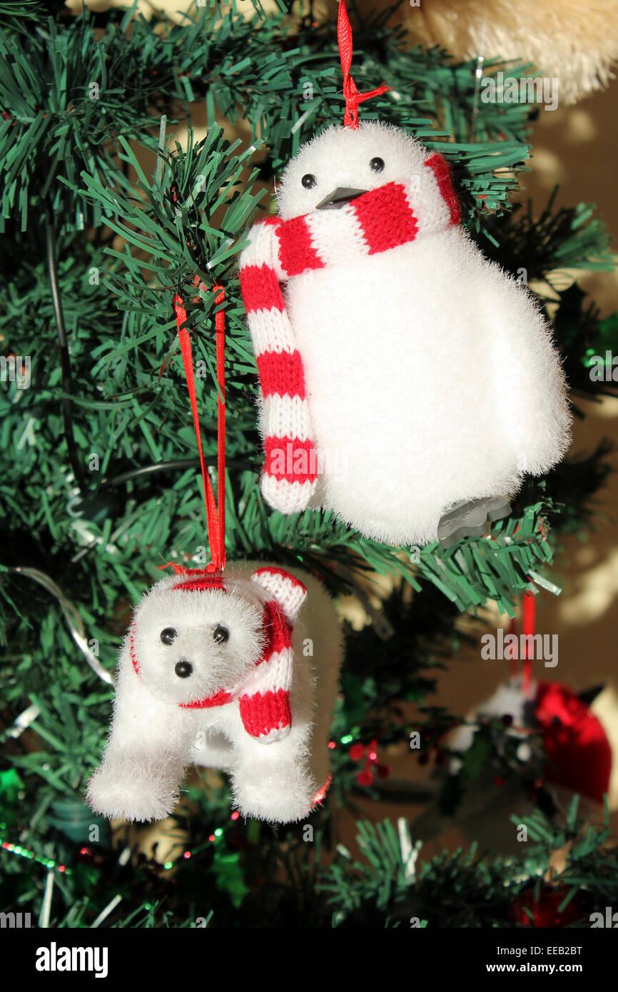 cute polar bear and penguin christmas tree decorations