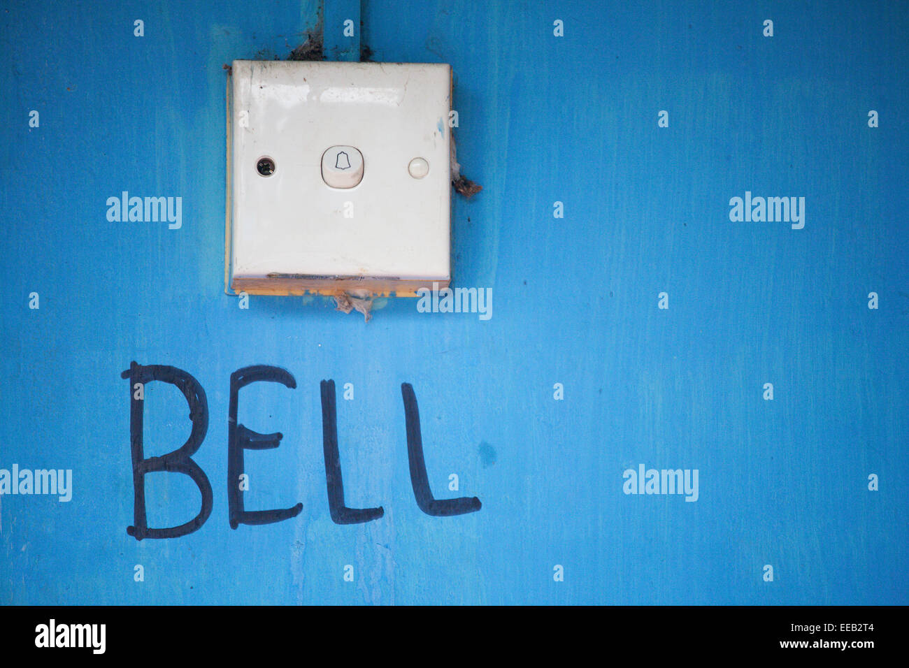 BELL SWITCH ON WALL - Stock Image