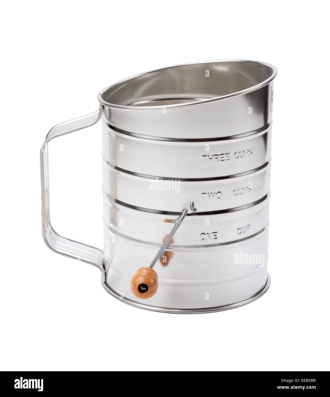 Stainless Sifter with a Crank - Stock Image