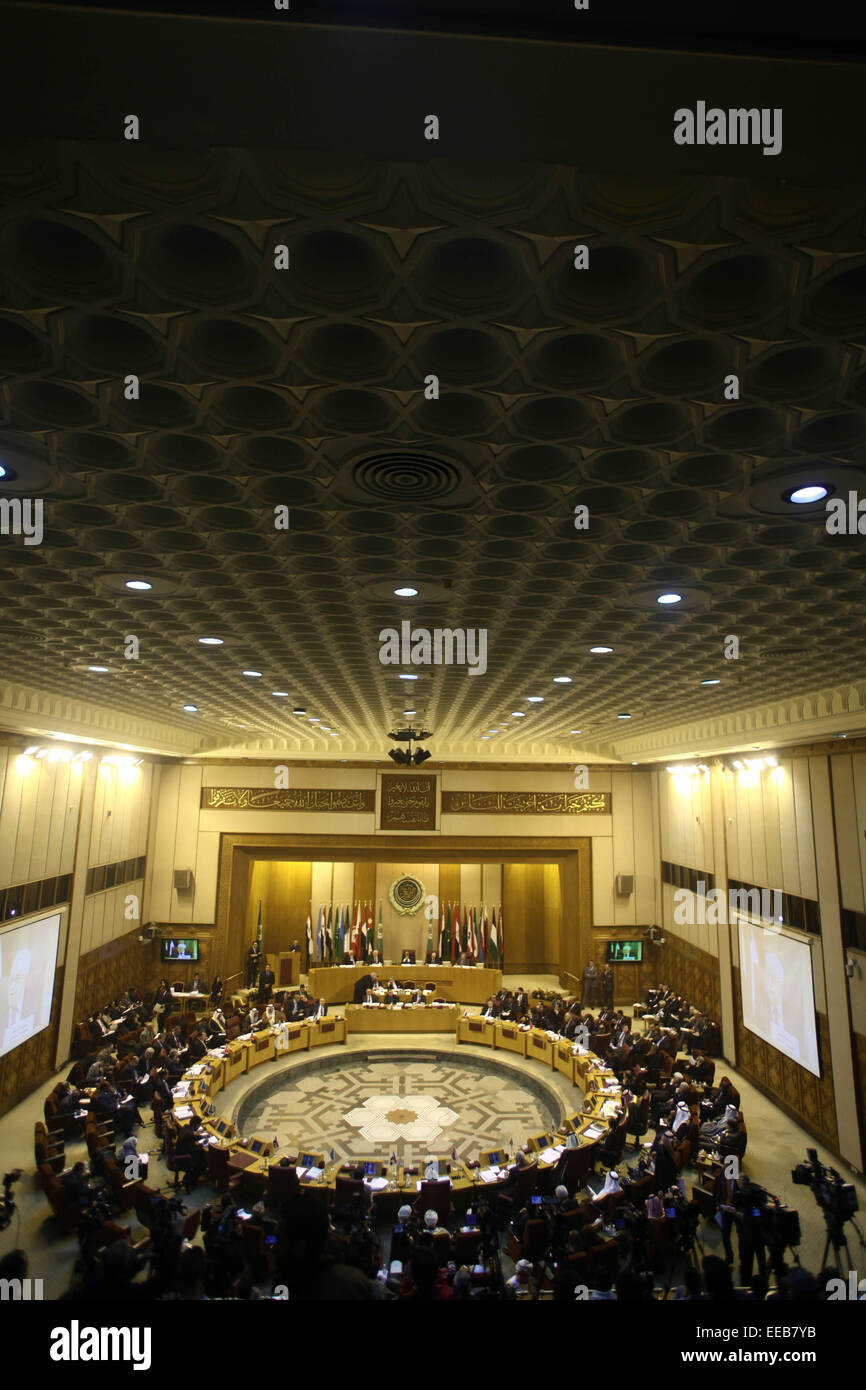 Cairo, Egypt. 15th Jan, 2015. An emergency meeting is held by foreign ministers of the Arab League in Cairo, Egypt, - Stock Image
