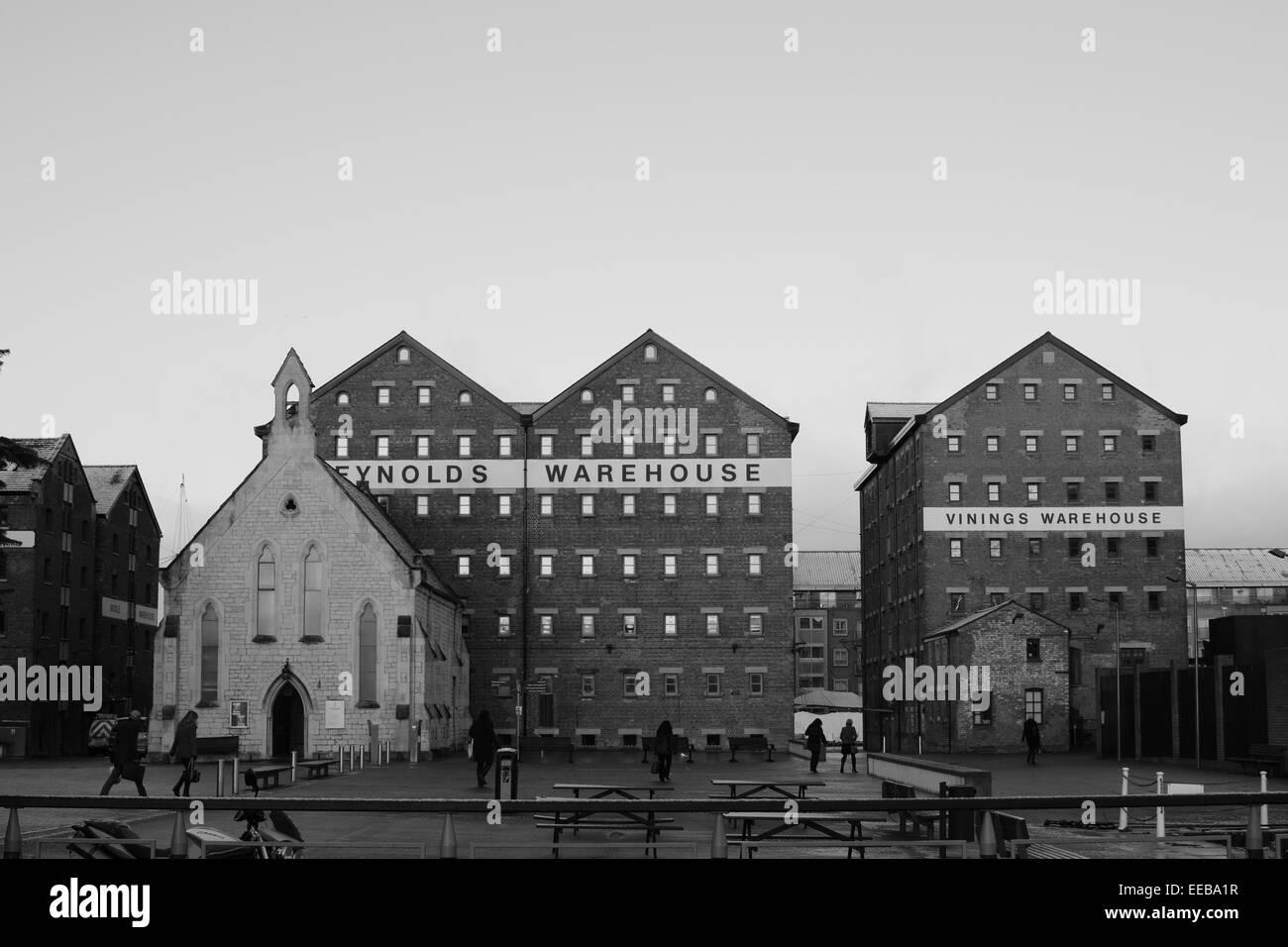Monochrome Mariners Church & dock warehouses. - Stock Image