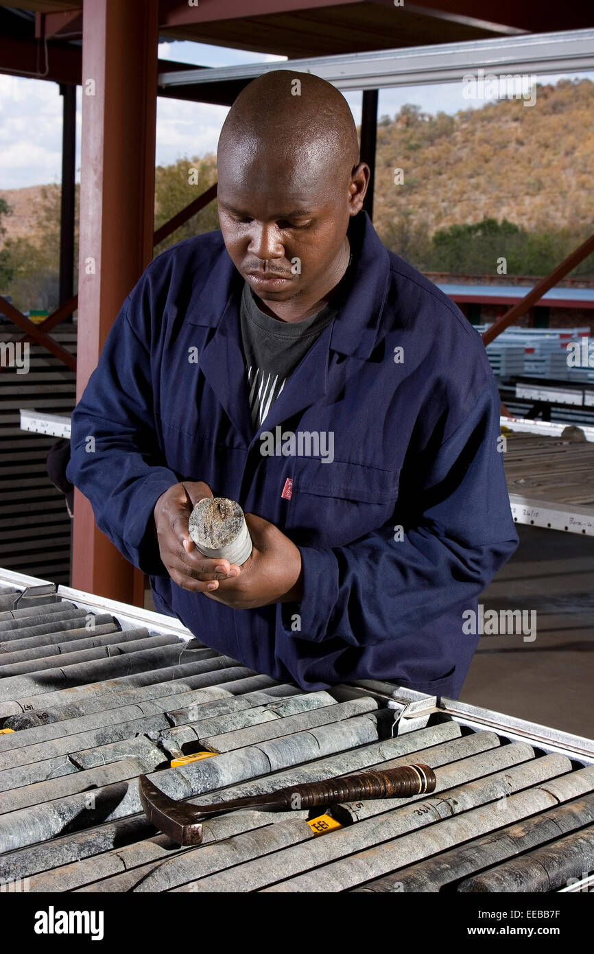 Geologist examining visible sulphide in core from mine area where Nickel and Copper will be mined via open cast - Stock Image
