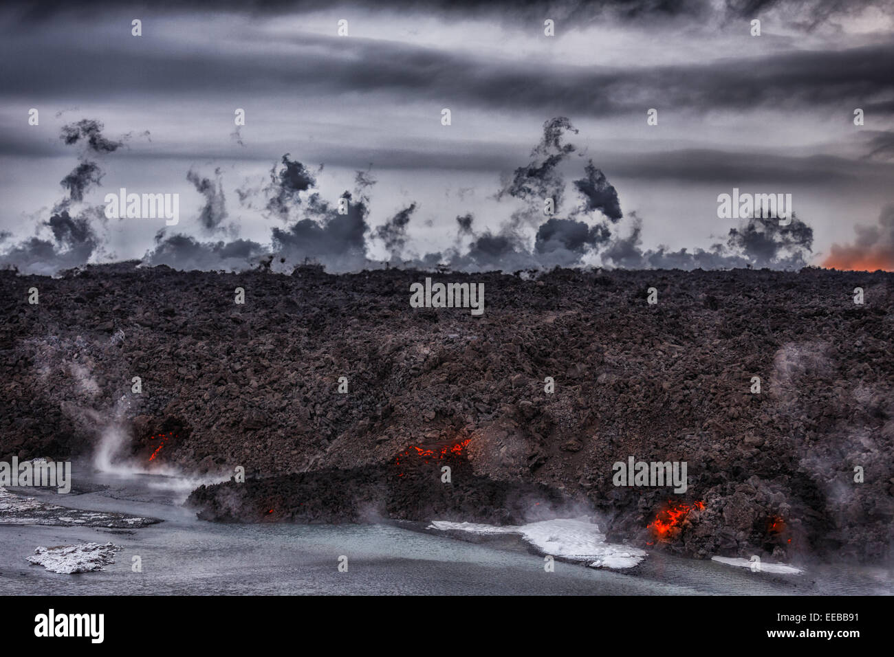 Volcano Eruption at the Holuhraun Fissure near the Bardarbunga Volcano, Iceland. Aerial view of lava and steam. - Stock Image