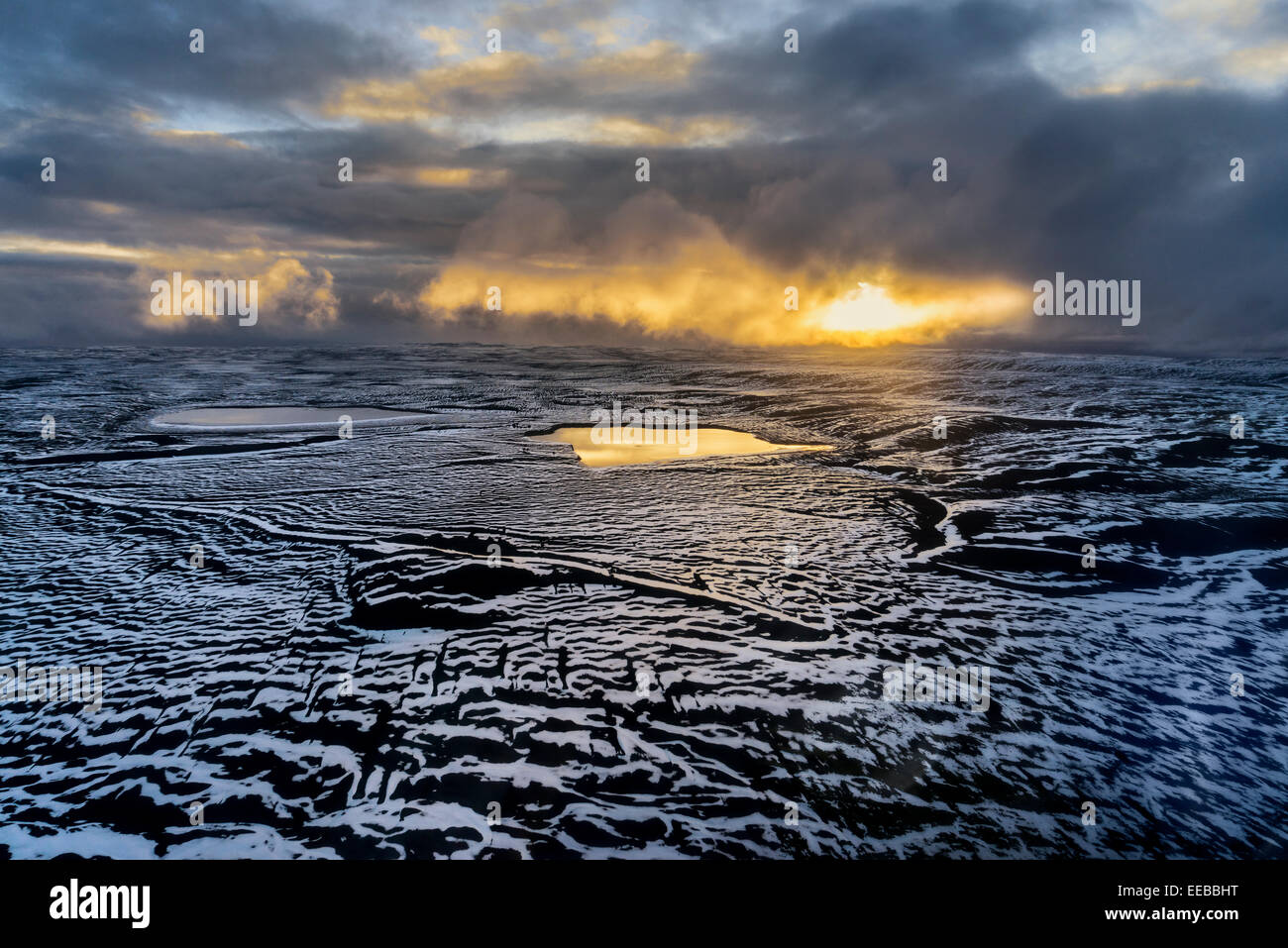 Snow covered lava. Volcano Eruption at the Holuhraun Fissure near the Bardarbunga Volcano, Iceland - Stock Image