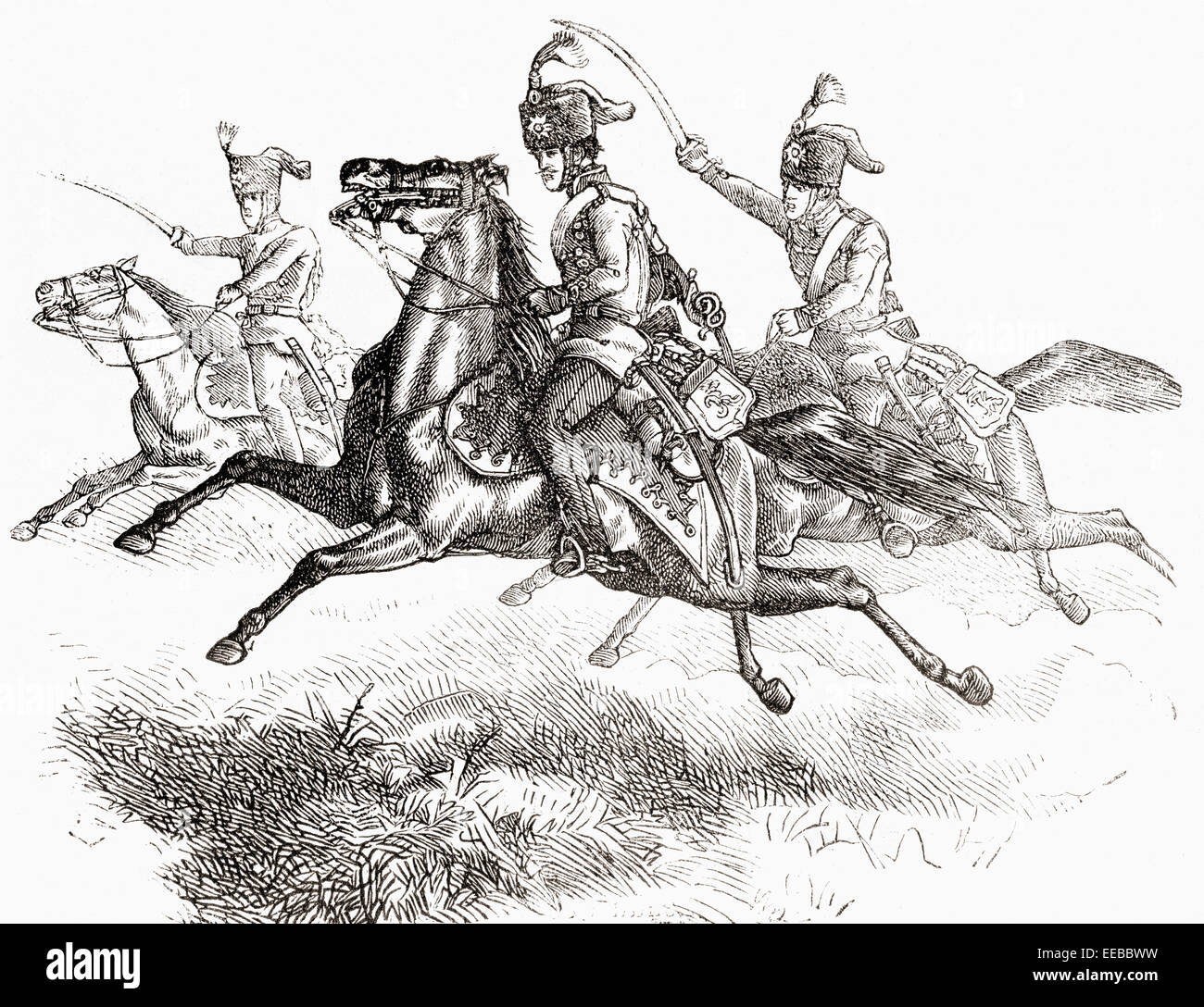 Charging Hussars or Hussards in the 19th century. - Stock Image