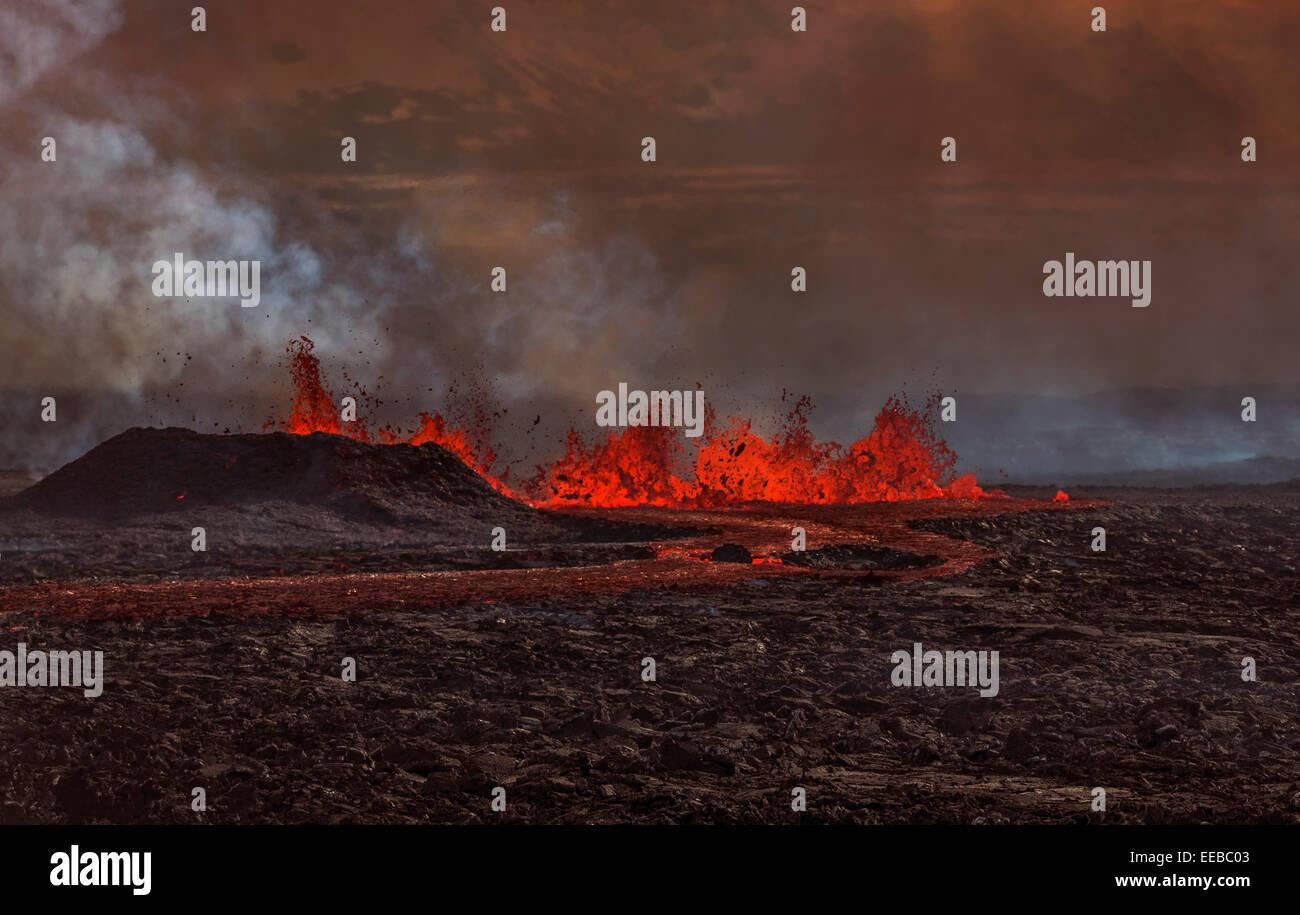 Volcano Eruption at the Holuhraun Fissure near the Bardarbunga Volcano, Iceland Stock Photo