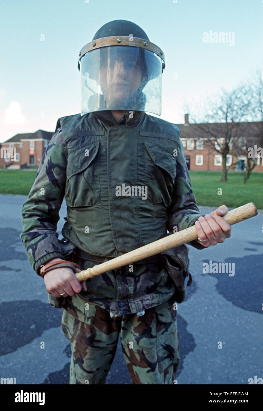WEAPONS OF ULSTER - FEBRUARY 1972. riot control baton and equipment used by The British Army, during The Troubles, - Stock Image
