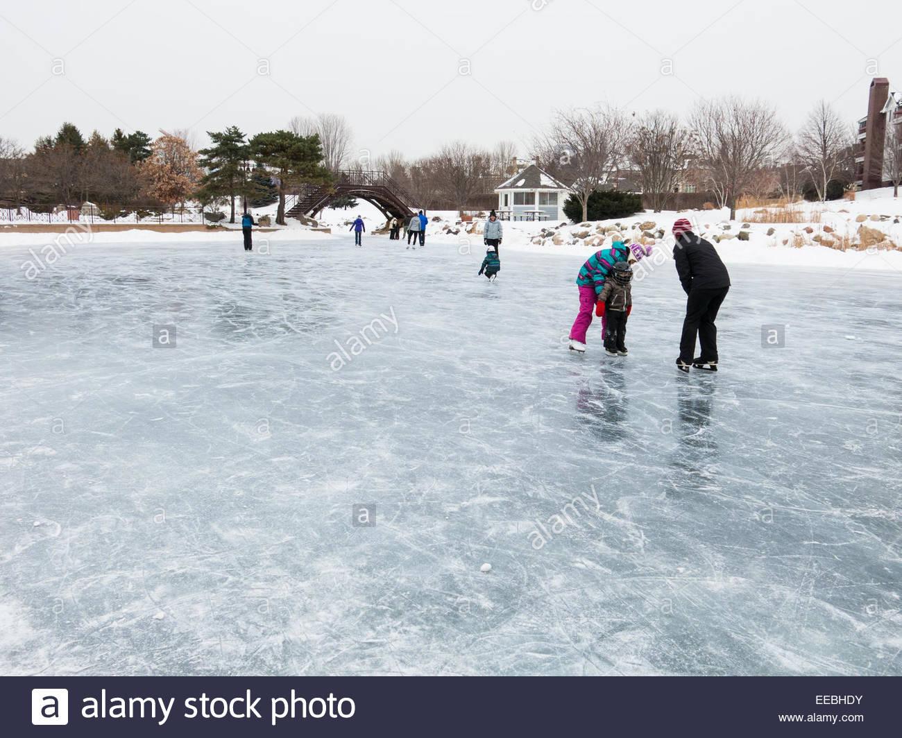 Ice skate rink on a frozen lake, Minnesota, USA - Stock Image