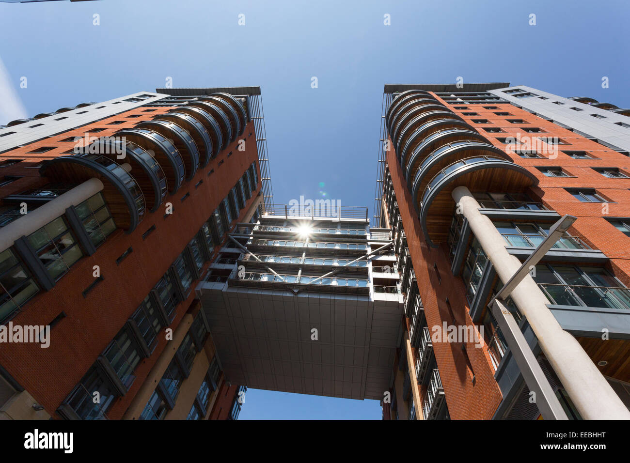 England, Manchester, Modern architecture at Spinningfileds financial district - Stock Image
