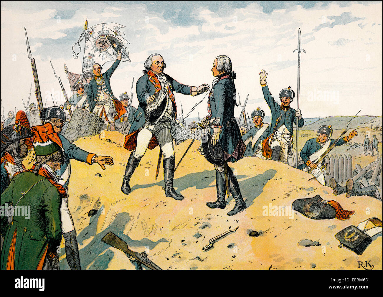 Frederick William II embraced the heroic crown prince Frederick William III after the battle of Kostheim, 1 May Stock Photo