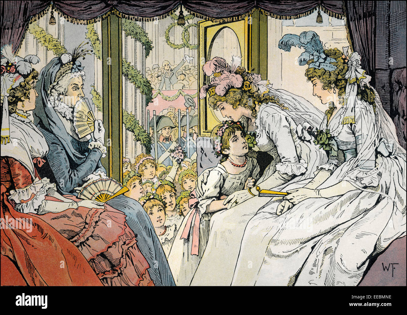 Welcoming the princess bride by blooming girls, Unter den Linden, Berlin, Germany, 22. December 1793, Louise of Stock Photo