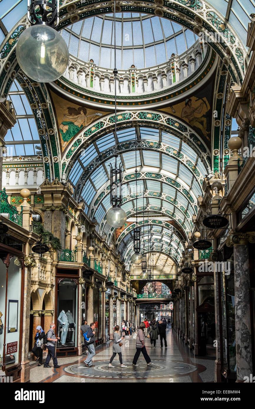 County Arcade Leeds, Yorkshire. The Victoria Quarter Designed by Frank Matcham - Stock Image