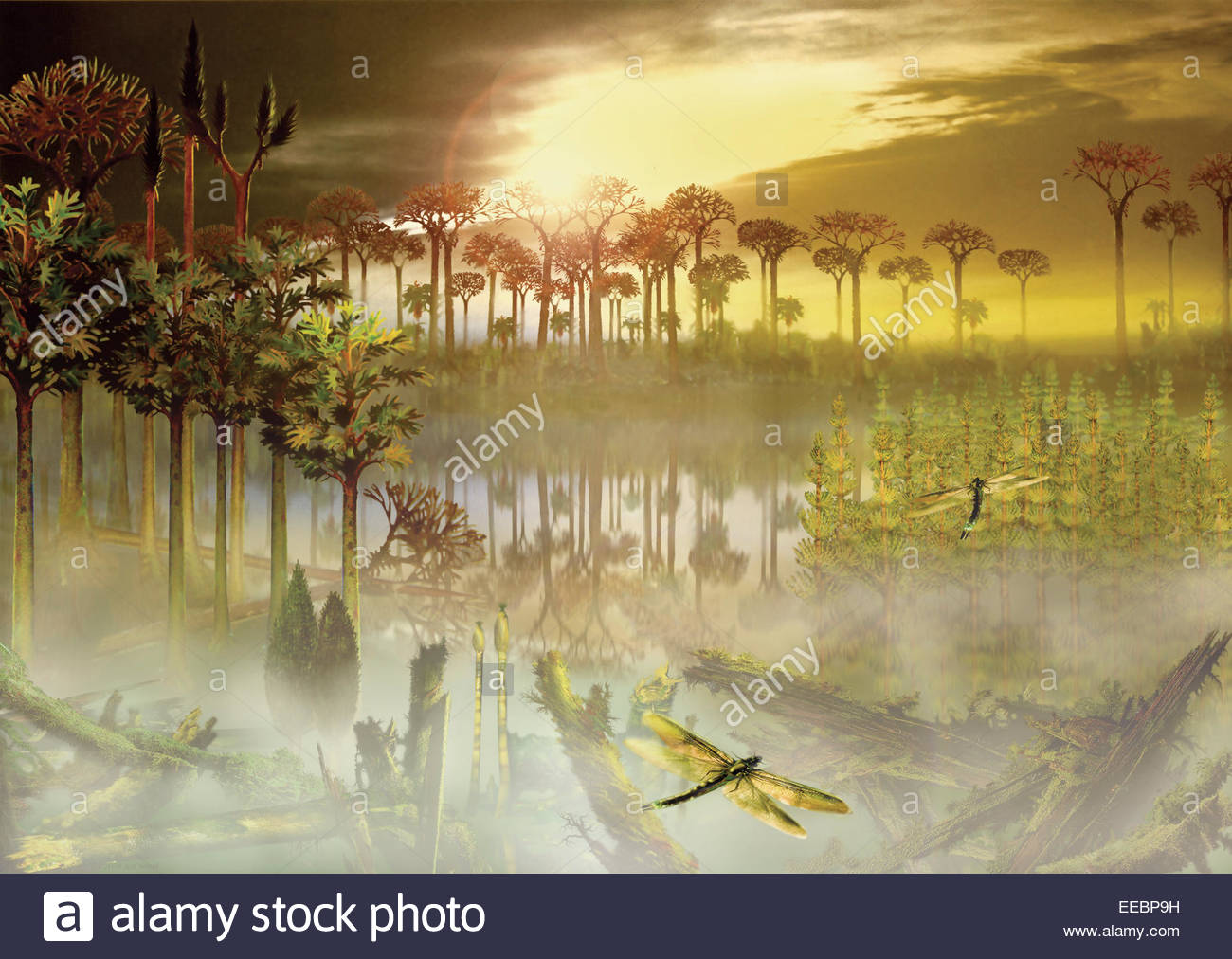 A carboniferous forest with mist rising above the waters. Stock Photo