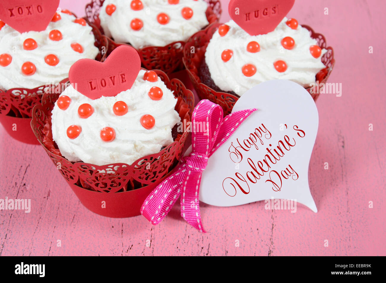 Happy Valentine Red Velvet Cupcakes With Love Messages On Pink Stock
