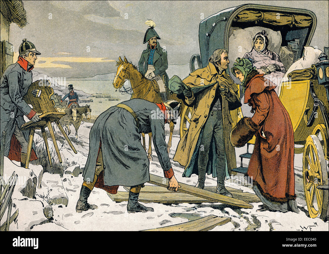 Napoleonic Wars, the escape of the Royal familiy from Koenigsberg to Memel through the Curonian Spit on 5 January - Stock Image