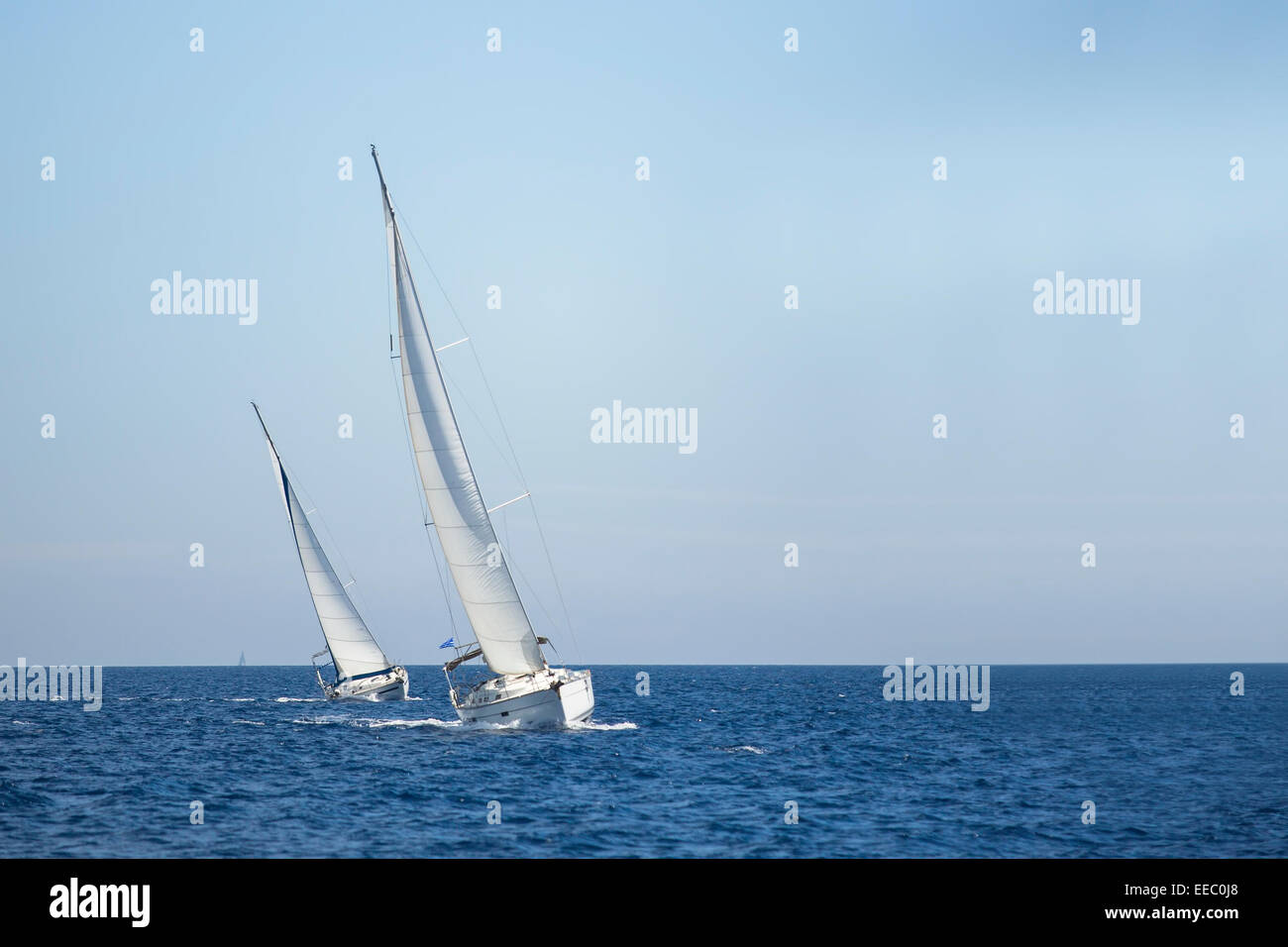Two sailboats on the sea. Sailing. Luxery yachts. - Stock Image