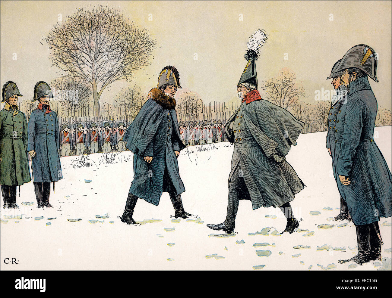 Replacement of prisoners, General Blucher against the French Marshal Victor on February 20, 1807, Napoleonic Wars, - Stock Image