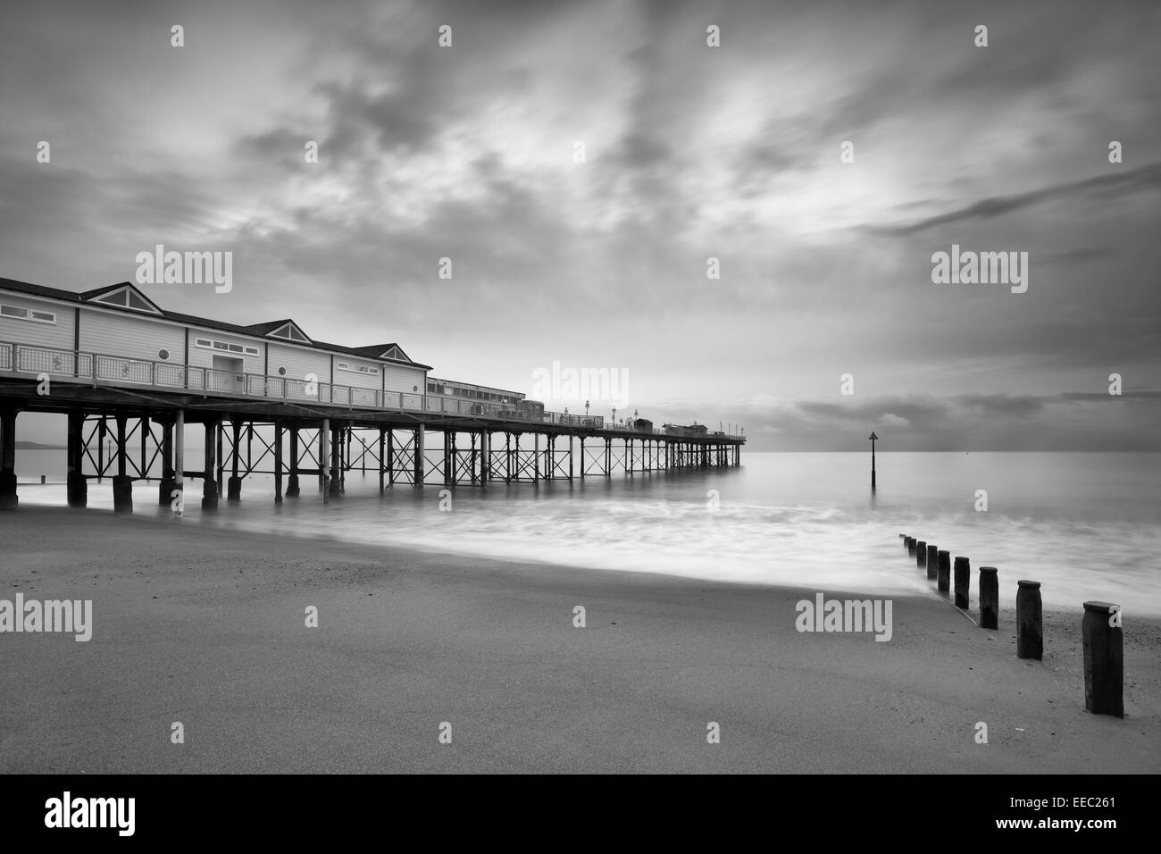 The pier at Teignmouth at Dawn, South Devon, England - Stock Image