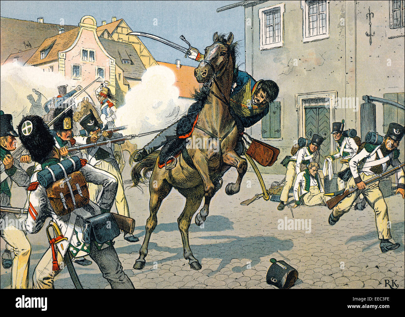 The War of the Fifth Coalition, death of Major von Schill in Stralsund on May 31 1809, historical painting by R. Stock Photo
