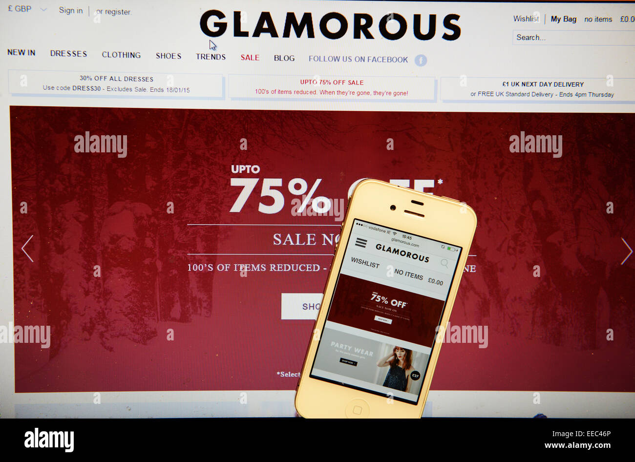 Glamorous Website and IPhone - Stock Image