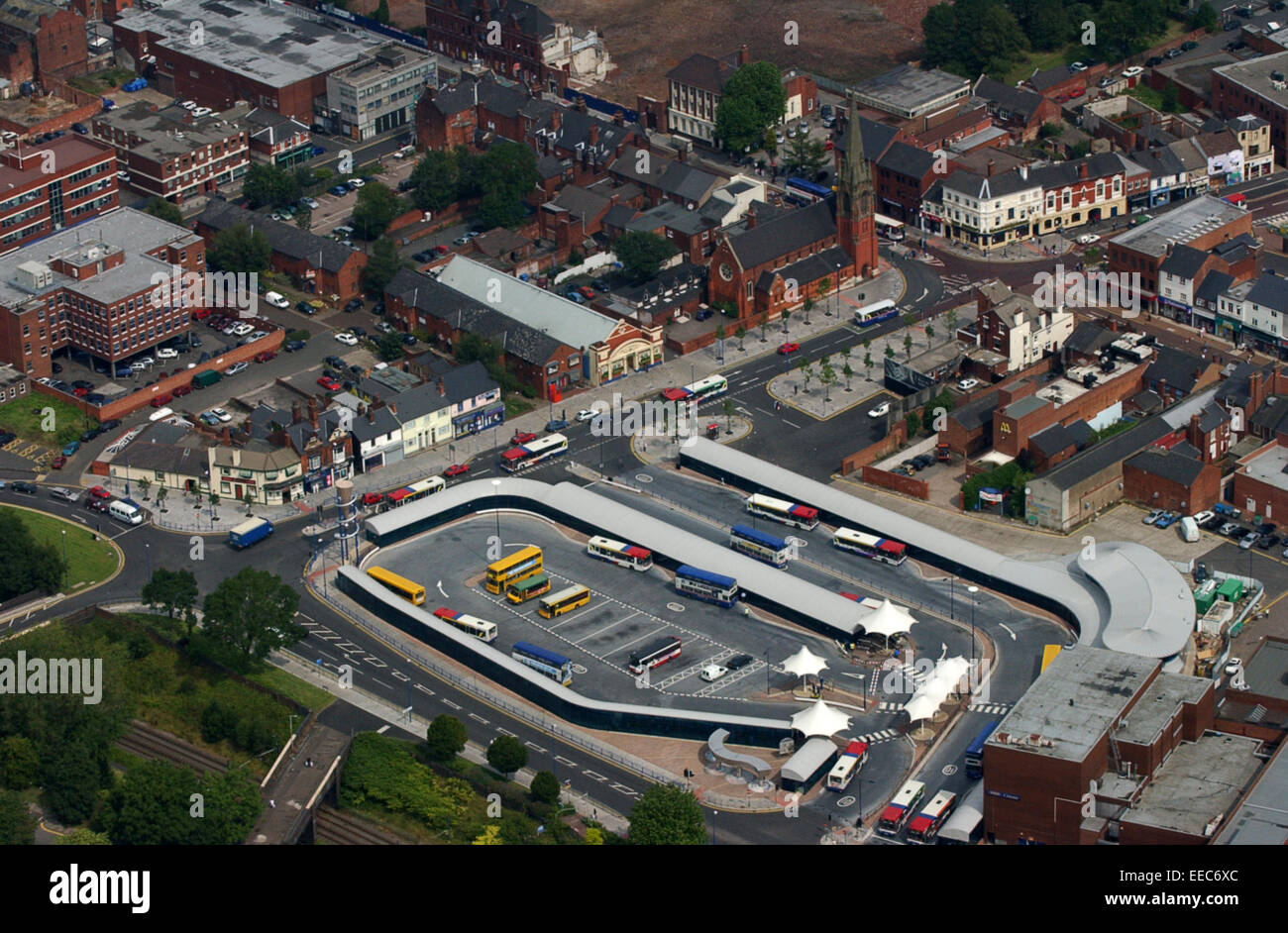 Aerial view West Bromwich, Sandwell, bus terminus Uk - Stock Image