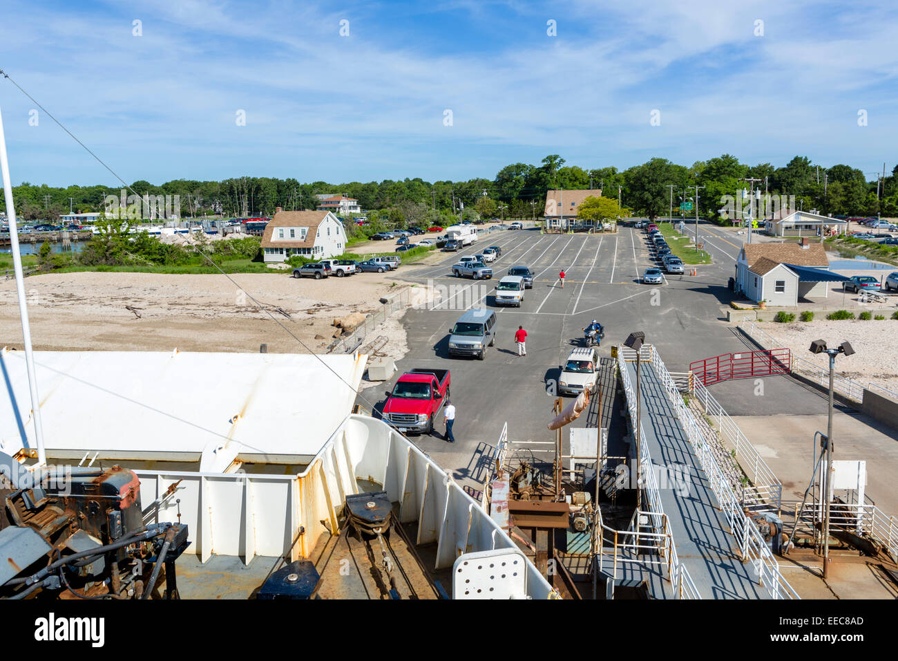 Vehicles boarding the Cross Sound Ferry at the harbour in Orient, Long Island, NY, North Eastern USA - Stock Image
