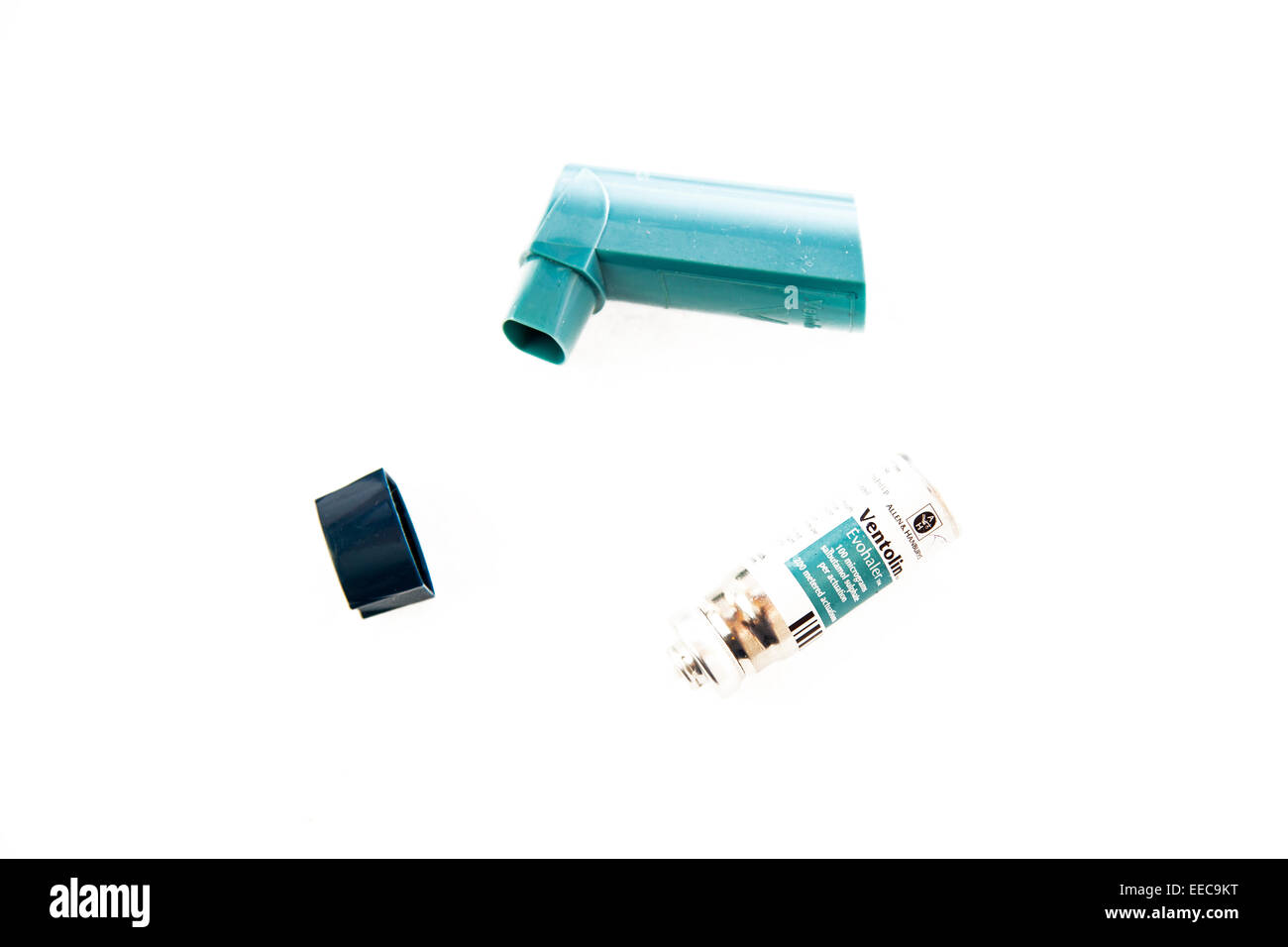 Ventolin inhaler evohaler dispenser asthma medicine tube  cut out copy space white background - Stock Image