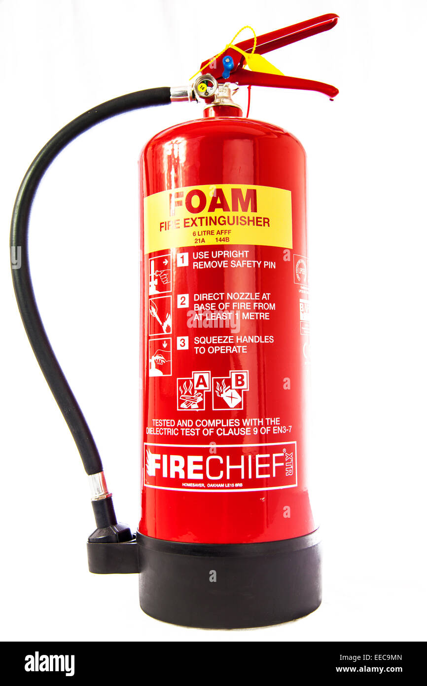 foam fire extinguisher gas cylinder canister bottle dispenser cut out copy space white background - Stock Image