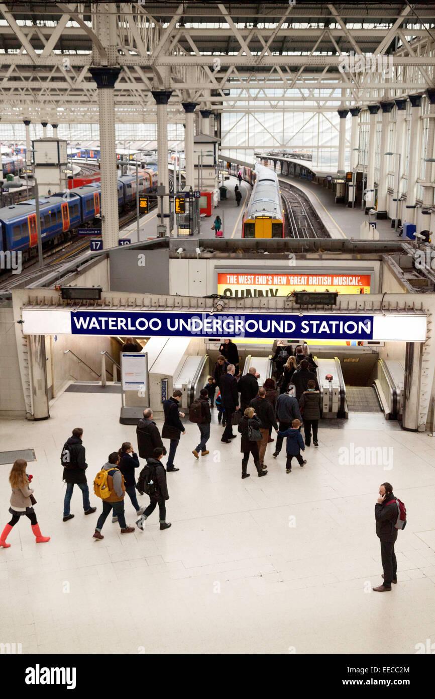 The entrance to Waterloo Underground tube station, London England UK - Stock Image