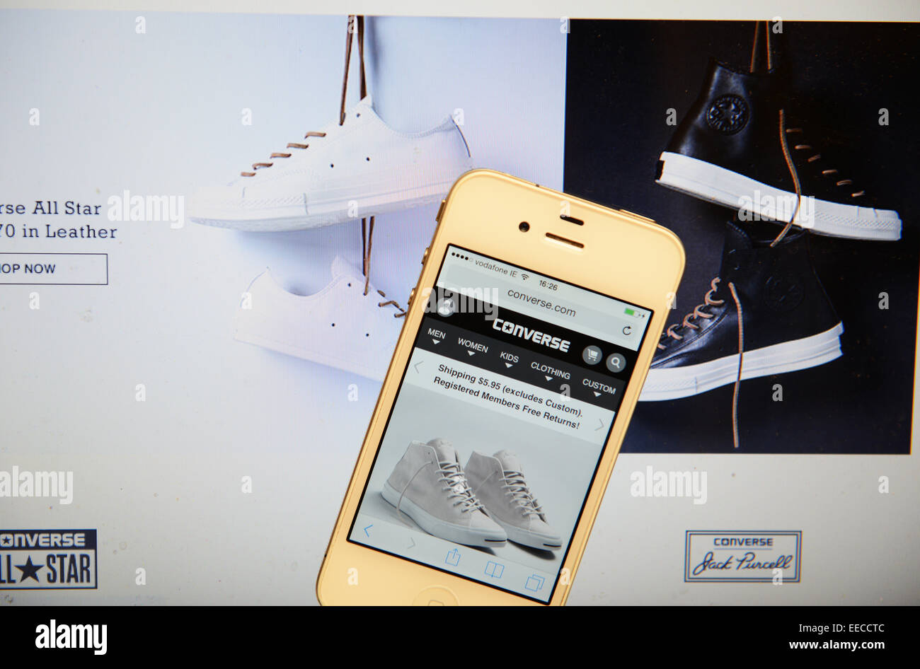 Converse Website and IPhone - Stock Image
