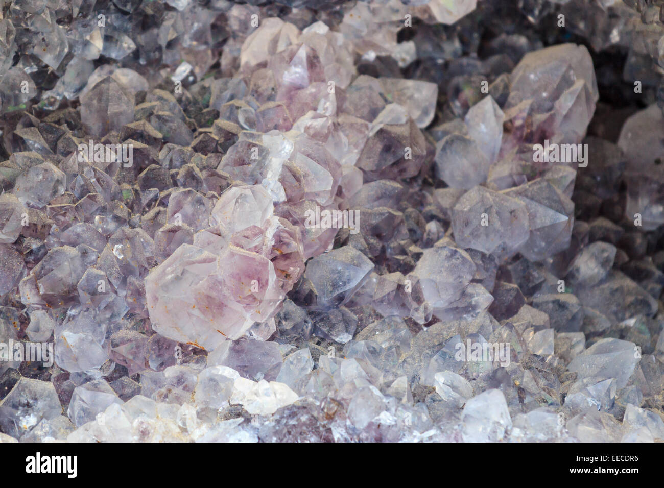 Detail of purple shimmering crystal - Stock Image