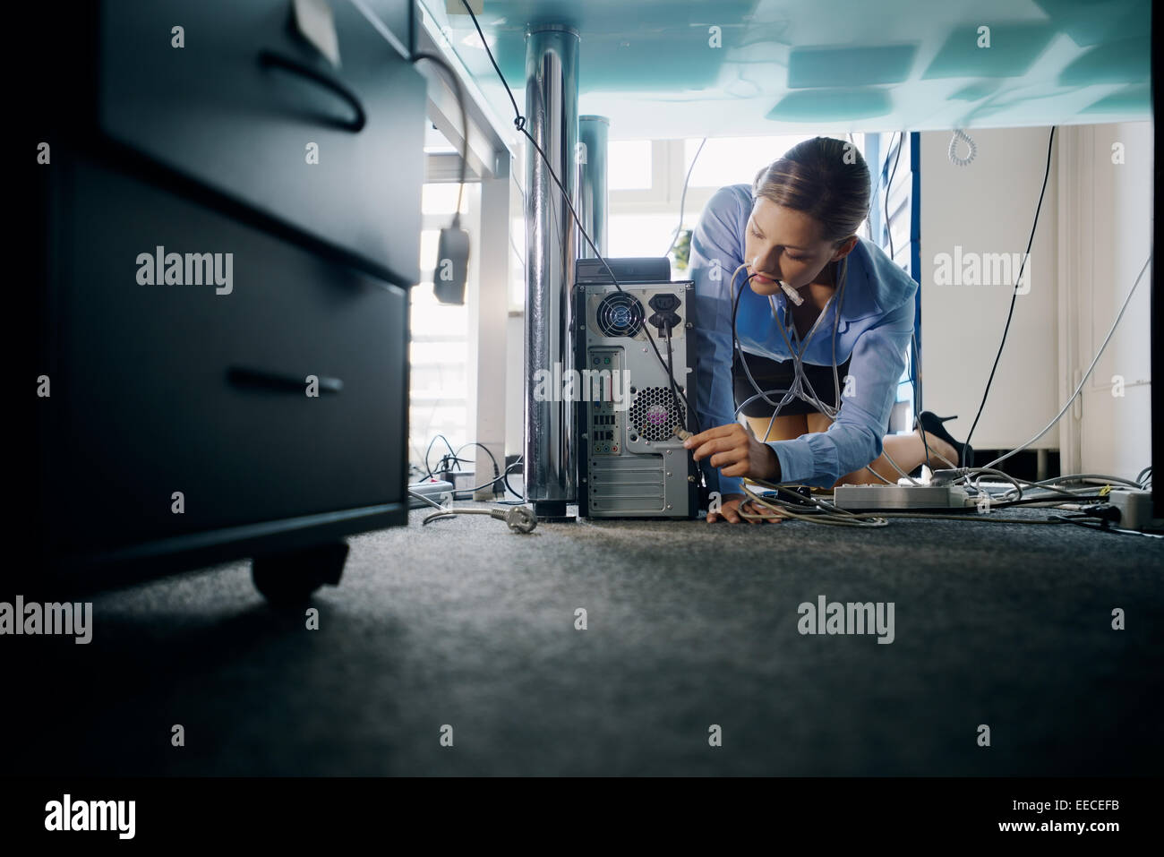 Female assistant working in office, plugging cables to computer and electronic equipment, messing around with wires. - Stock Image