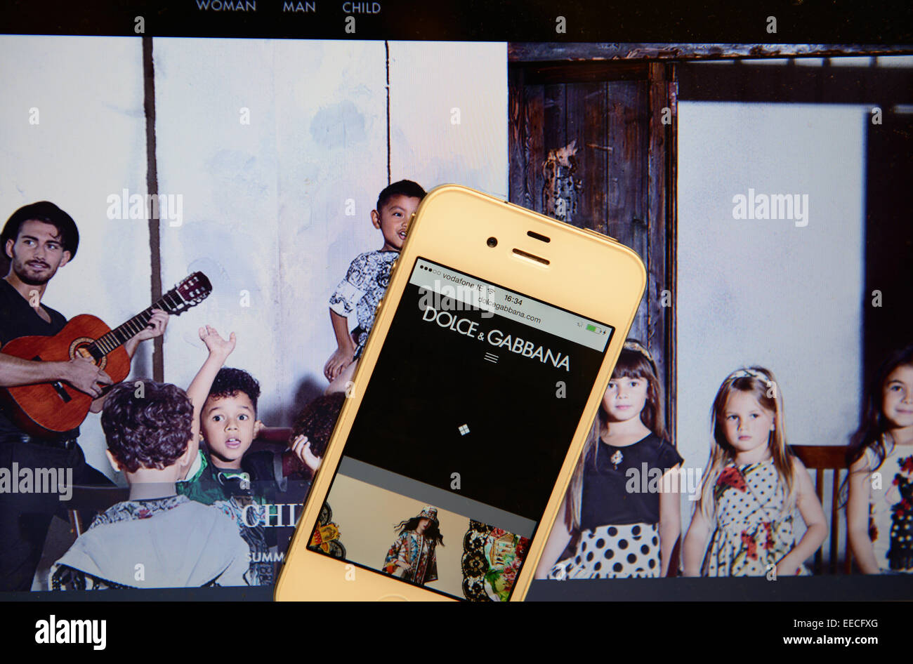 Dolce and Gabbana Website and IPhone - Stock Image