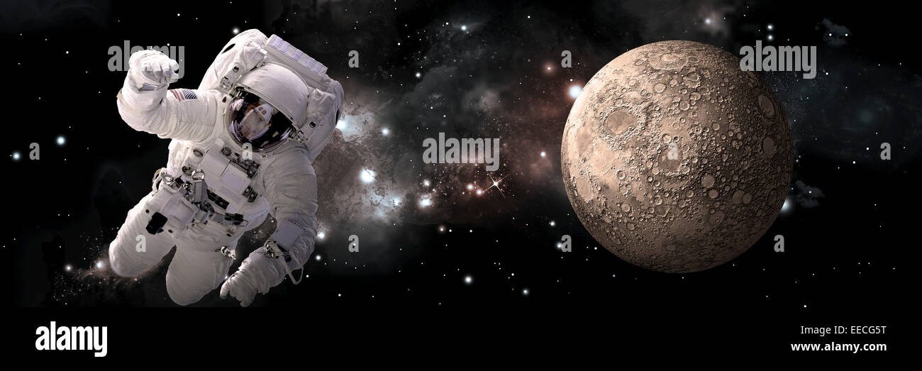 Artist's concept of an astronaut floating in outer space. A barren and heavily cratered moon is illuminated - Stock Image