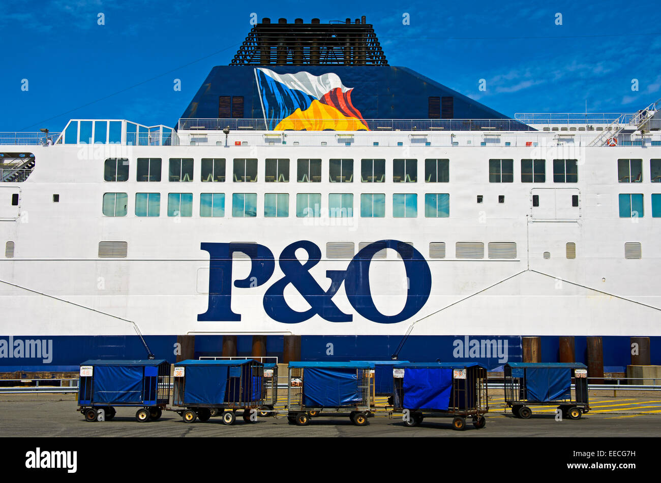 Lateral view of a cross-channel ferry of the shipping company P&O ferries in the port of Calais, France - Stock Image