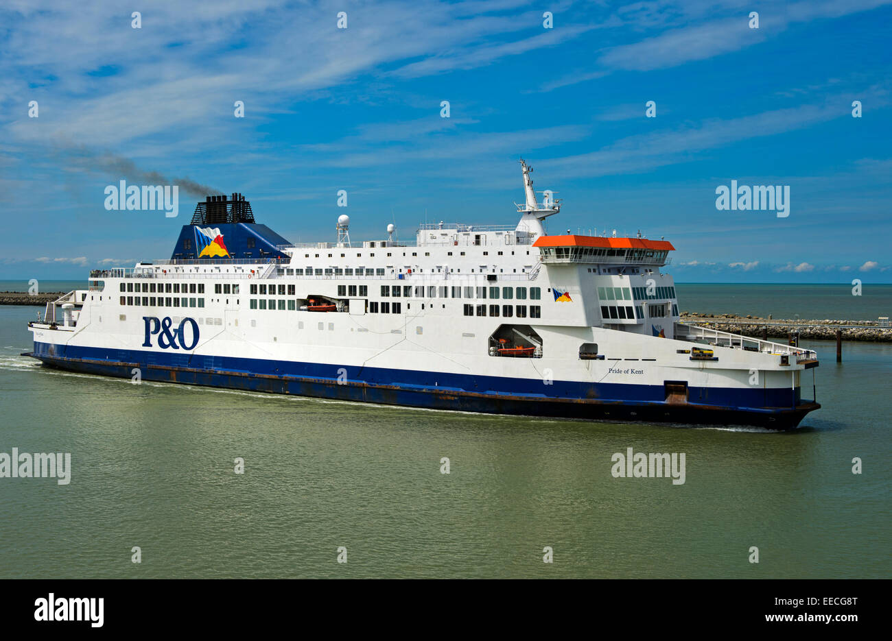 Cross-channel ferry Pride of Kent of P&O ferries approaches the port of Calais, France - Stock Image
