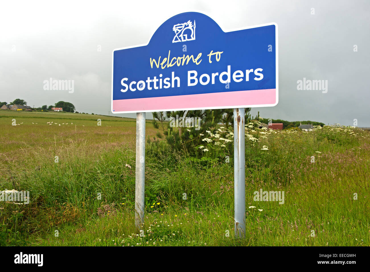 Welcome sign in the council area Scottish Borders near Lamberton, Scotland, United Kingdom - Stock Image