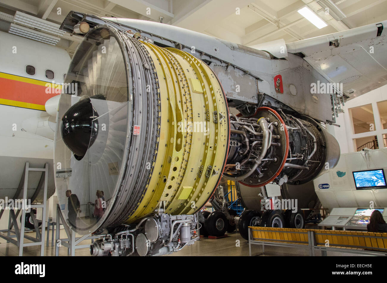 Quite an amazing experience to stand in front of this General Electric fanjet turboprop engine. - Stock Image